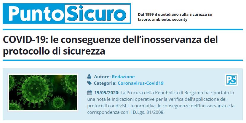 PuntoSicuro - COVID-19: le conseguenze dell'inosservanza del protocollo di sicurezza