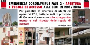 Emergenza sanitaria Coronavirus - Fase 2 - Accesso alle sedi Cgil in Provincia di Modena