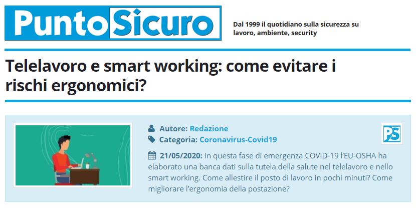 PuntoSicuro - Telelavoro e smart working: come evitare i rischi ergonomici?