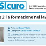 PuntoSicuro - Covid-19 e fase 2: la formazione nel lavoro
