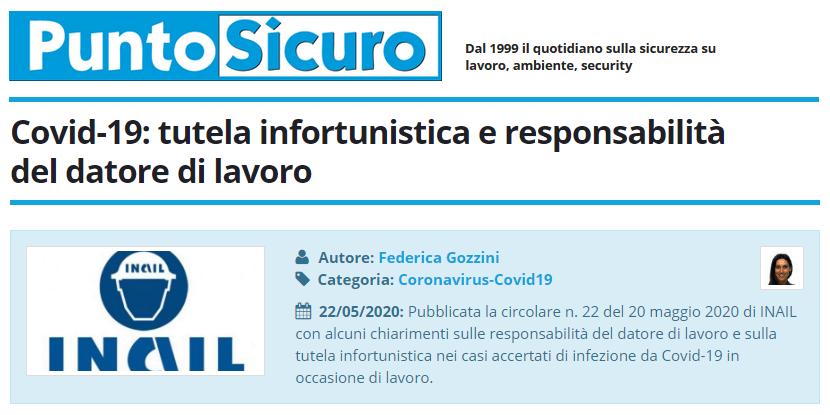 PuntoSicuro - Covid-19: tutela infortunistica e responsabilità del datore di lavoro
