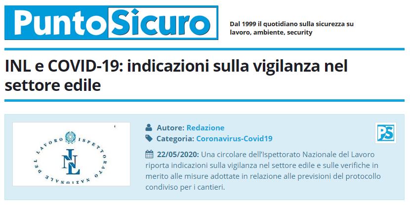 PuntoSicuro - INL e COVID-19: indicazioni sulla vigilanza nel settore edile