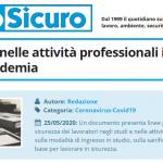 PuntoSicuro - La sicurezza nelle attività professionali in tempi di pandemia