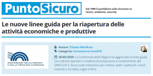 PuntoSicuro - Le nuove linee guida per la riapertura delle attività economiche e produttive