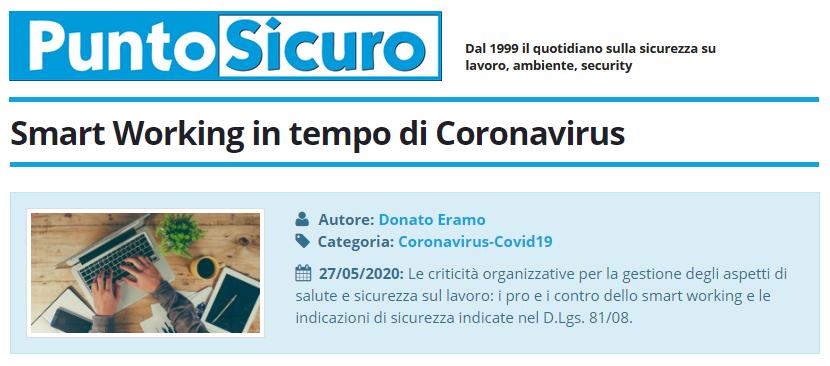 PuntoSicuro - Smart Working in tempo di Coronavirus