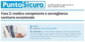 PuntoSicuro - Fase 2: medico competente e sorveglianza sanitaria eccezionale