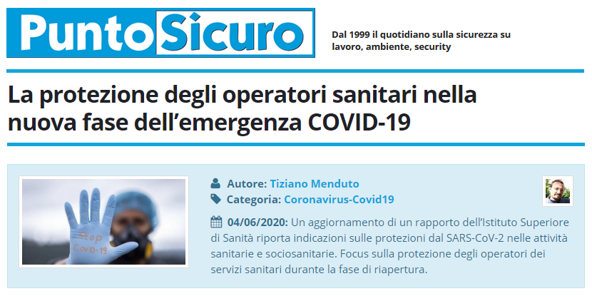 PuntoSicuro - La protezione degli operatori sanitari nella nuova fase dell'emergenza COVID-19