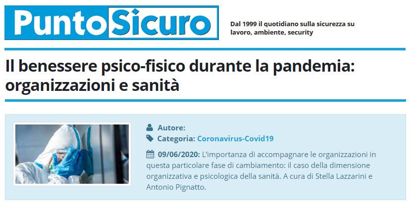 PuntoSicuro - Il benessere psico-fisico durante la pandemia: organizzazioni e sanità