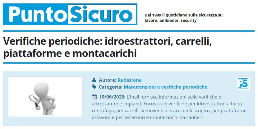 PuntoSicuro - Verifiche periodiche: idroestrattori, carrelli, piattaforme e montacarichi