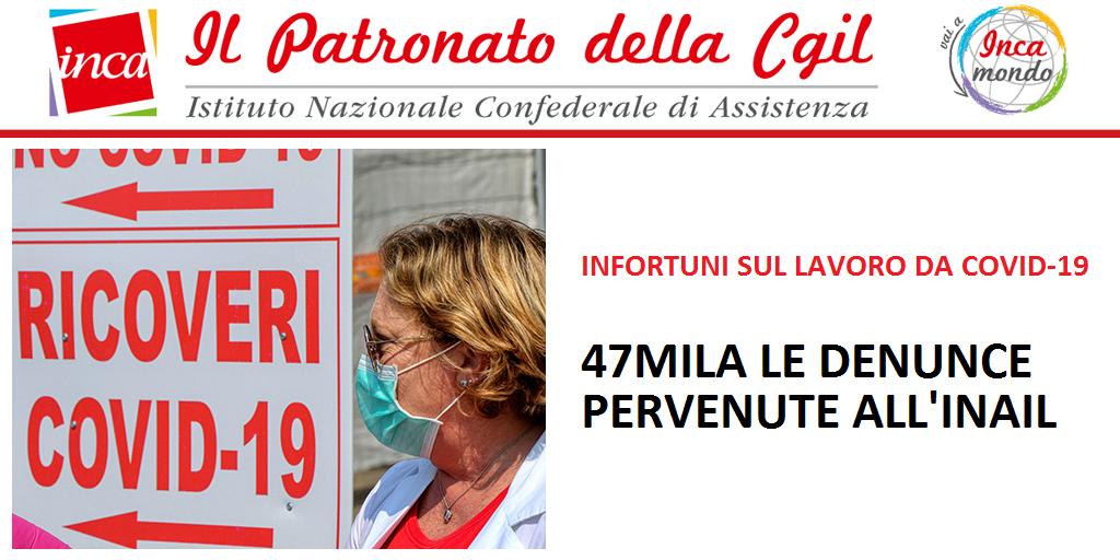 Patronato Inca Cgil Nazionale - Infortuni sul lavoro da Covid-19. 47mila le denunce pervenute all'Inail