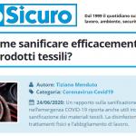 PuntoSicuro - COVID-19: come sanificare efficacemente i materiali e prodotti tessili?