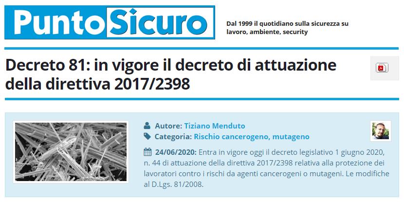 PuntoSicuro - Decreto 81: in vigore il decreto di attuazione della direttiva 2017/2398