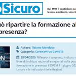 PuntoSicuro - COVID-19: può ripartire la formazione alla sicurezza in presenza?