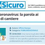 PuntoSicuro - Sicurezza e coronavirus: la parola ai coordinatori di cantiere