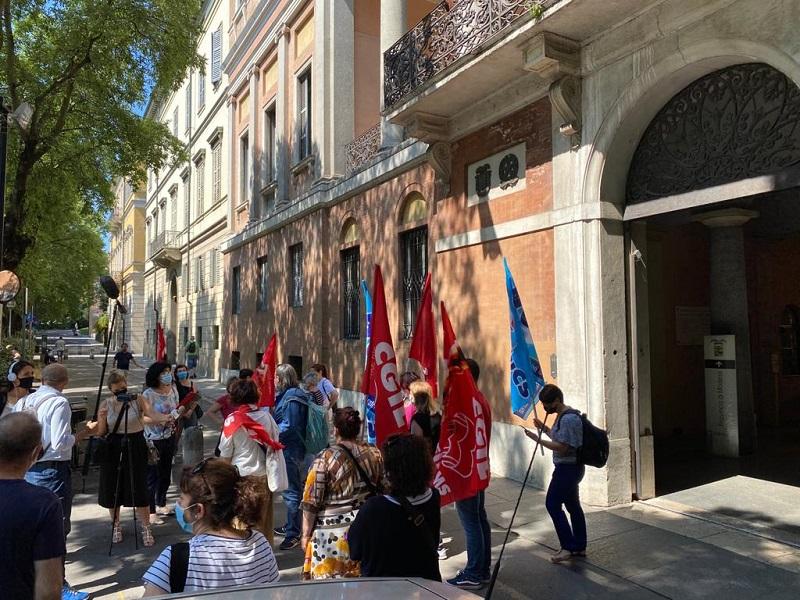 protesta-conferenza stampa c/o Prefettura mense e pulizie scolastiche, 24.6.20