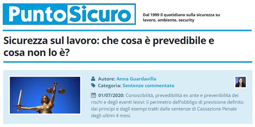 PuntoSicuro - Sicurezza sul lavoro: che cosa è prevedibile e cosa non lo è?