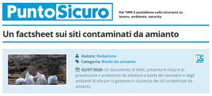 PuntoSicuro - Un factsheet sui siti contaminati da amianto