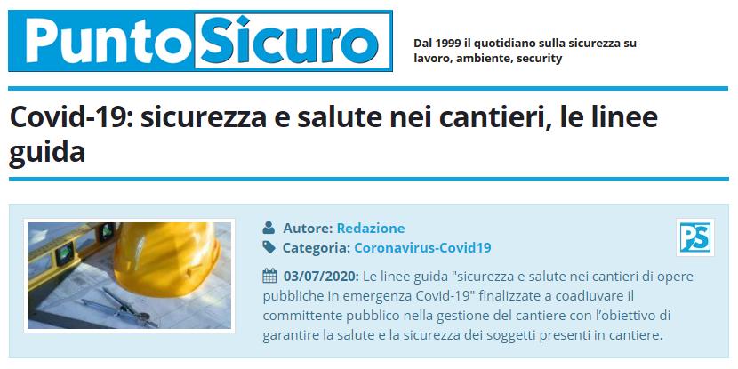PuntoSicuro - Covid-19: sicurezza e salute nei cantieri, le linee guida