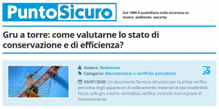 PuntoSicuro - Gru a torre: come valutarne lo stato di conservazione e di efficienza?