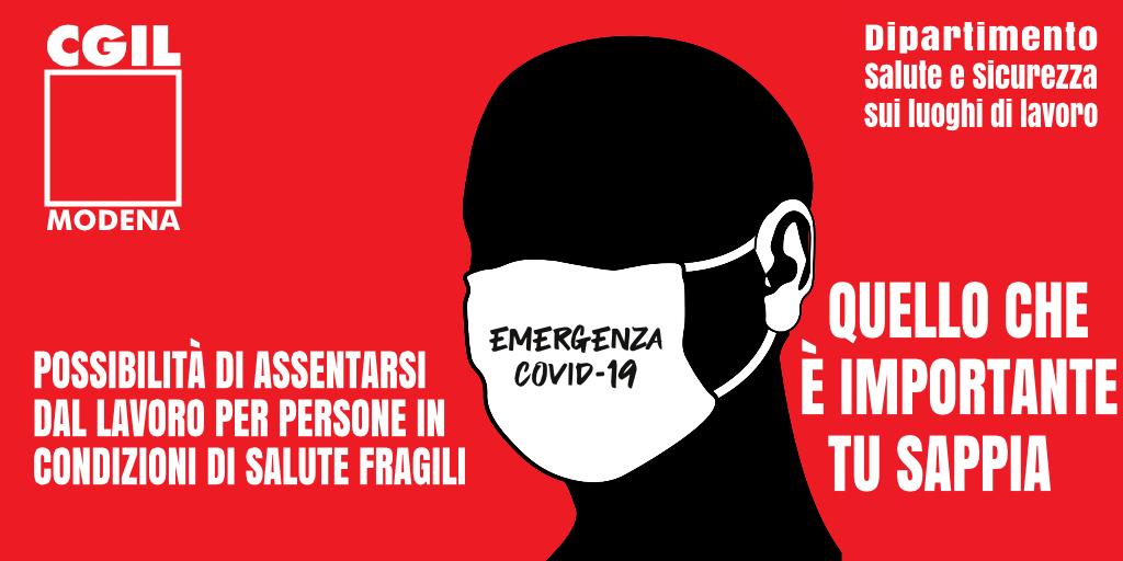 Dipartimento Salute e Sicurezza Cgil Modena - Possibilità di assentarsi dal lavoro per persone in condizioni di salute fragili