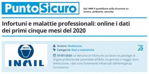 PuntoSicuro - Infortuni e malattie professionali: online i dati dei primi cinque mesi del 2020