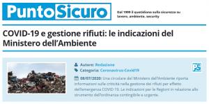 PuntoSicuro - COVID-19 e gestione rifiuti: le indicazioni del Ministero dell'Ambiente