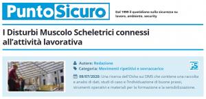 PuntoSicuro - I Disturbi Muscolo Scheletrici connessi all'attività lavorativa