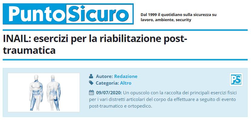 PuntoSicuro - INAIL: esercizi per la riabilitazione post-traumatica