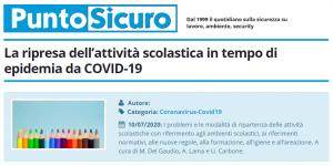 PuntoSicuro - La ripresa dell'attività scolastica in tempo di epidemia da COVID-19
