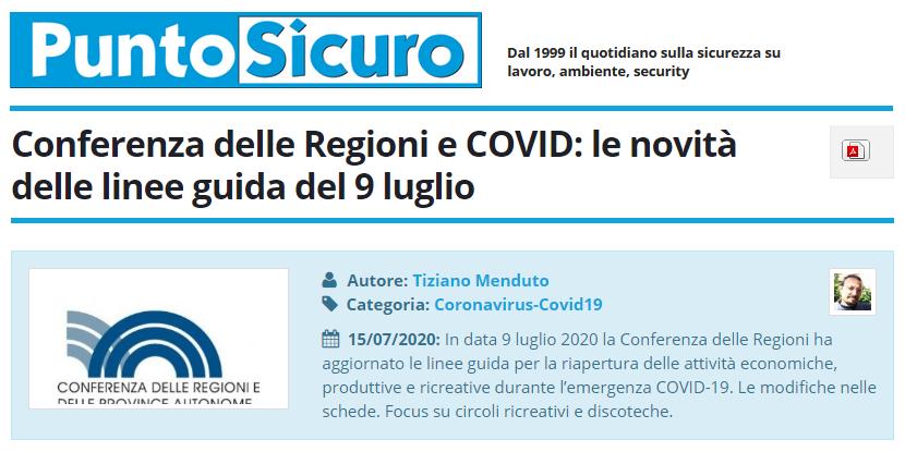 PuntoSicuro - Conferenza delle Regioni e COVID: le novità delle linee guida del 9 luglio