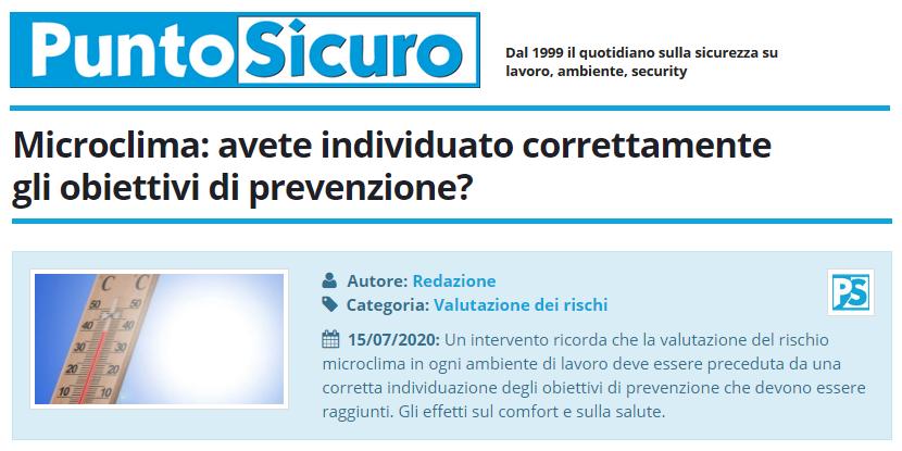 PuntoSicuro - Microclima: avete individuato correttamente gli obiettivi di prevenzione?