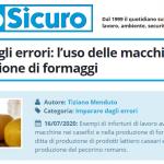 PuntoSicuro - Imparare dagli errori: l'uso delle macchine nella produzione di formaggi