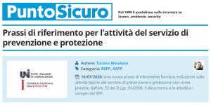 PuntoSicuro - Prassi di riferimento per l'attività del servizio di prevenzione e protezione