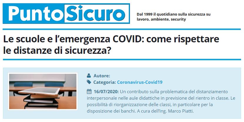PuntoSicuro - Le scuole e l'emergenza COVID: come rispettare le distanze di sicurezza?