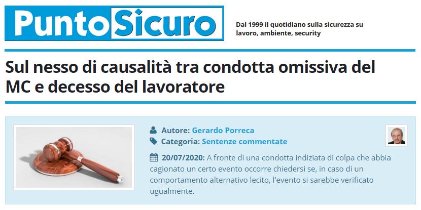 PuntoSicuro - Sul nesso di causalità tra condotta omissiva del MC e decesso del lavoratore