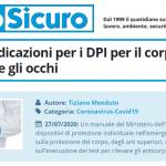 PuntoSicuro - COVID-19: indicazioni per i DPI per il corpo, le mani, il viso e gli occhi