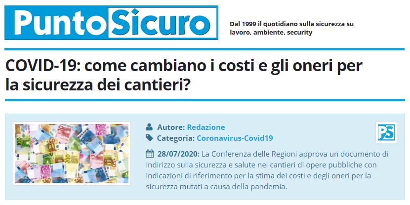 PuntoSicuro - COVID-19: come cambiano i costi e gli oneri per la sicurezza dei cantieri?