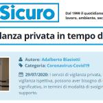 PuntoSicuro - I servizi di vigilanza privata in tempo di COVID