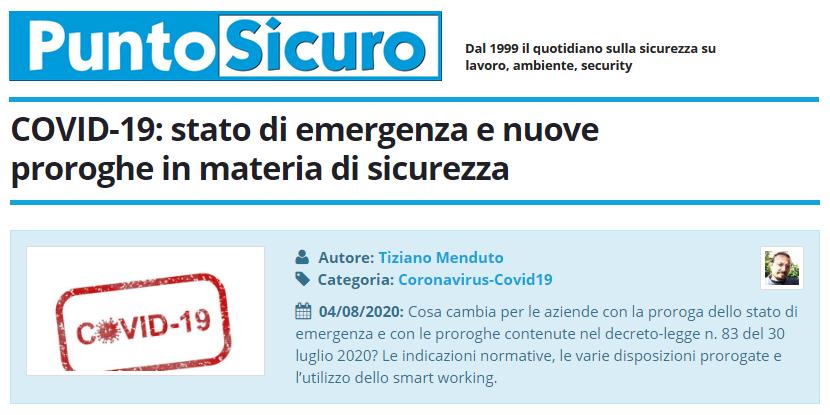 PuntoSicuro - COVID-19: stato di emergenza e nuove proroghe in materia di sicurezza