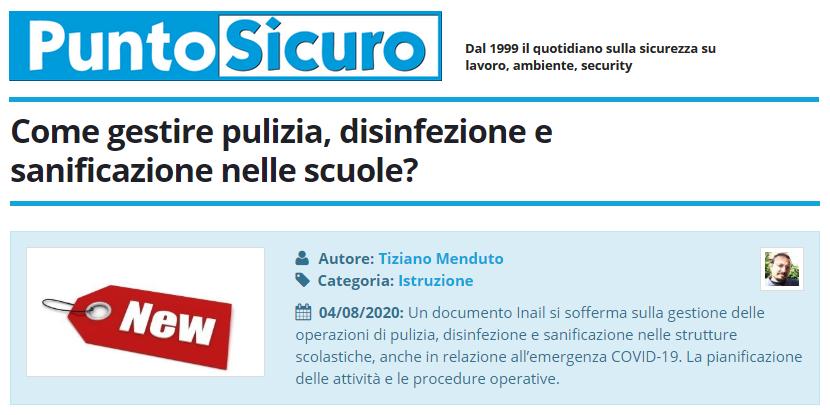 PuntoSicuro - Come gestire pulizia, disinfezione e sanificazione nelle scuole?