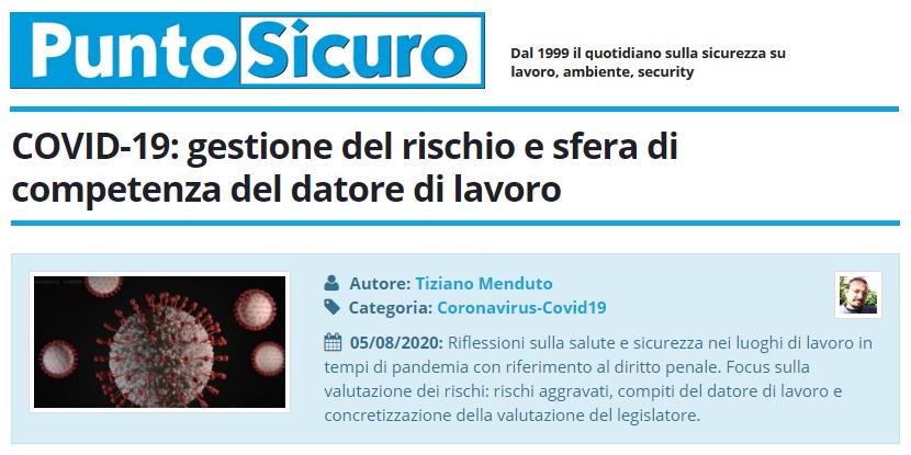 PuntoSicuro - COVID-19: gestione del rischio e sfera di competenza del datore di lavoro