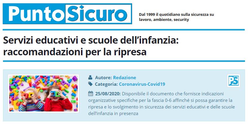 PuntoSicuro - Servizi educativi e scuole dell'infanzia: raccomandazioni per la ripresa