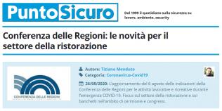 PuntoSicuro - Conferenza delle Regioni: le novità per il settore della ristorazione