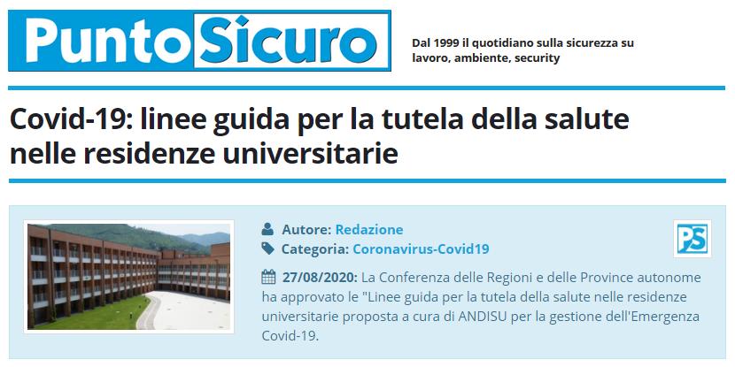 PuntoSicuro - Covid-19: linee guida per la tutela della salute nelle residenze universitarie