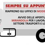 Riapertura al sabato uffici Filt Cgil a Modena - Avvio aperture a Mirandola - Solo su appuntamento