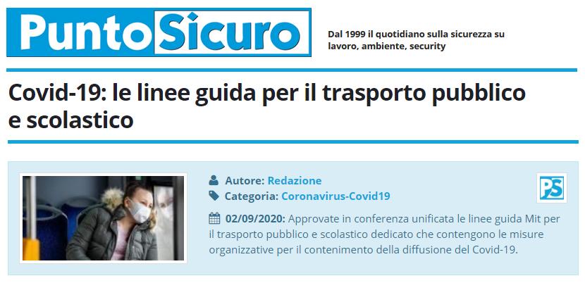 PuntoSicuro - Covid-19: le linee guida per il trasporto pubblico e scolastico