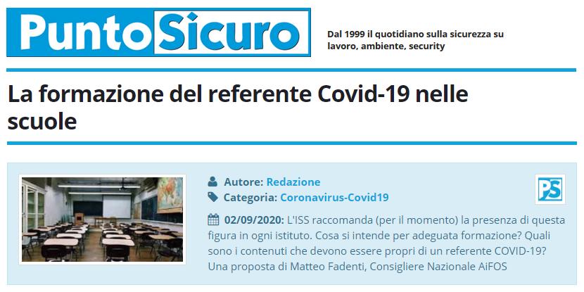 PuntoSicuro - La formazione del referente Covid-19 nelle scuole