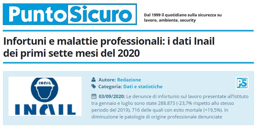 PuntoSicuro - Infortuni e malattie professionali: i dati Inail dei primi sette mesi del 2020