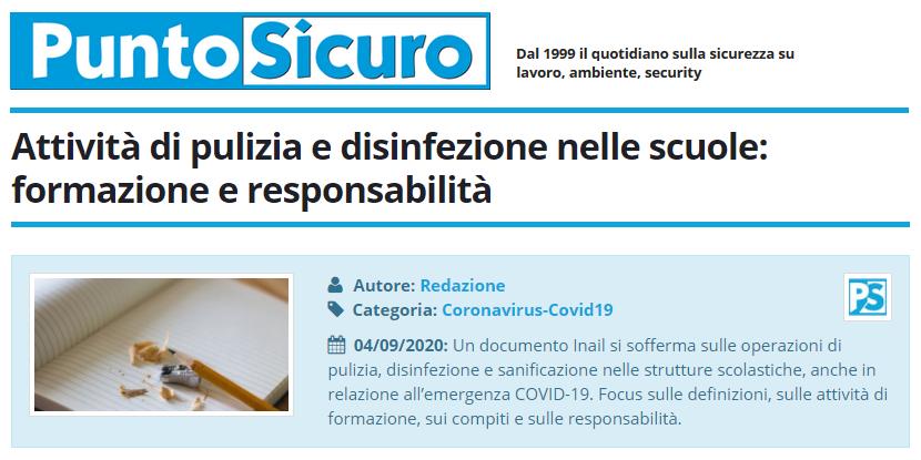 PuntoSicuro - Attività di pulizia e disinfezione nelle scuole: formazione e responsabilità