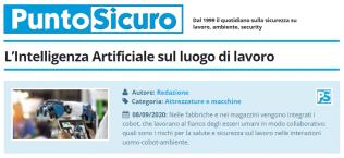 PuntoSicuro - L'Intelligenza Artificiale sul luogo di lavoro